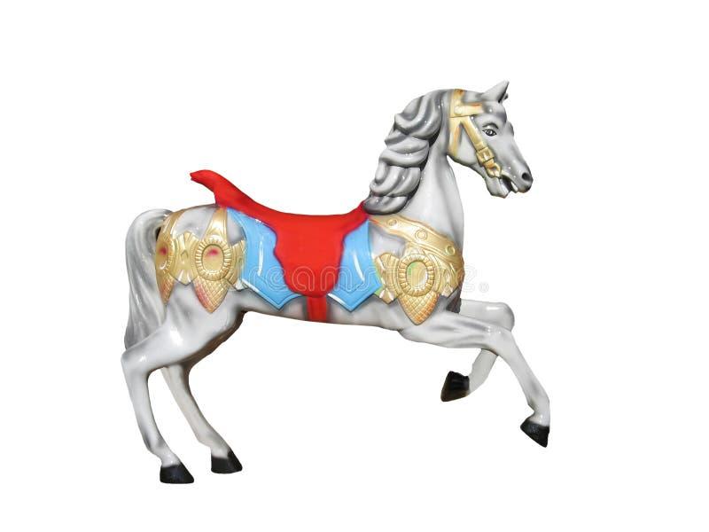 Cavallo bianco del carosello fotografie stock libere da diritti