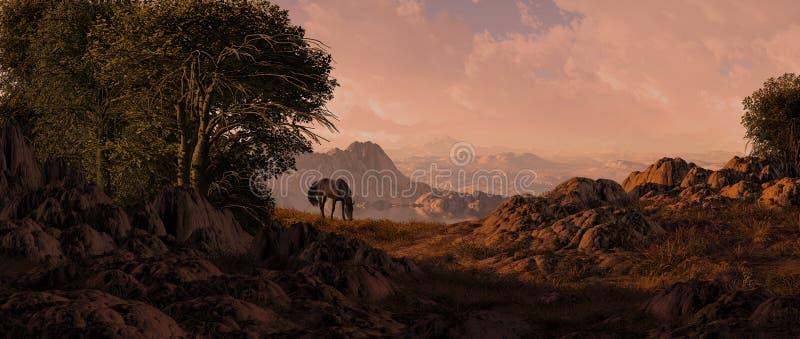 Cavallo che pasce nel sud-ovest fotografia stock libera da diritti