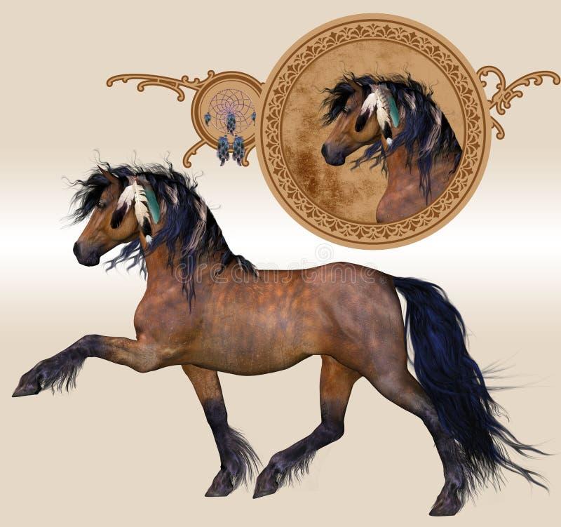 Cavallo con le piume ed il disegno illustrazione vettoriale