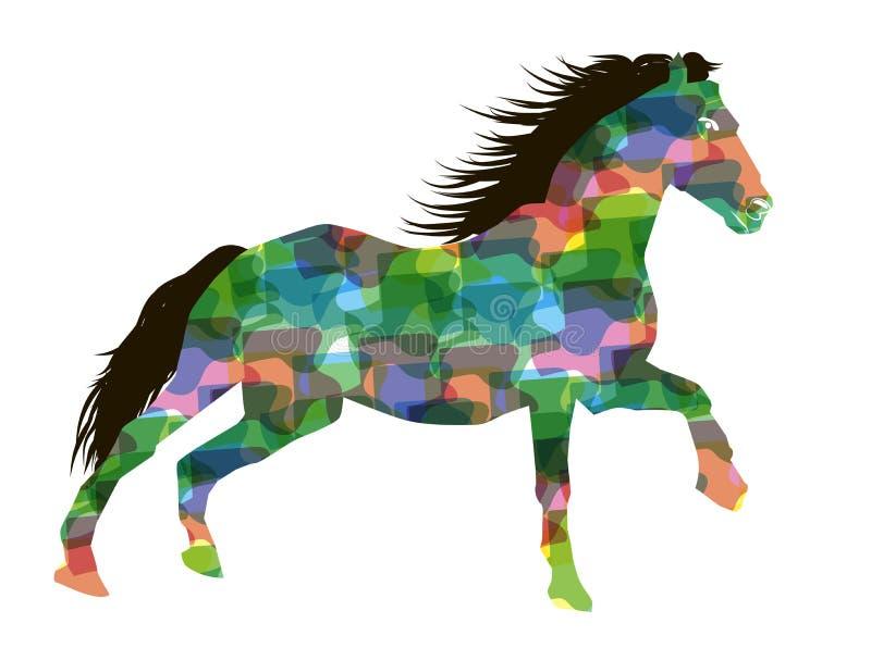 Cavallo Corrente Stilizzato Illustrazione Vettoriale