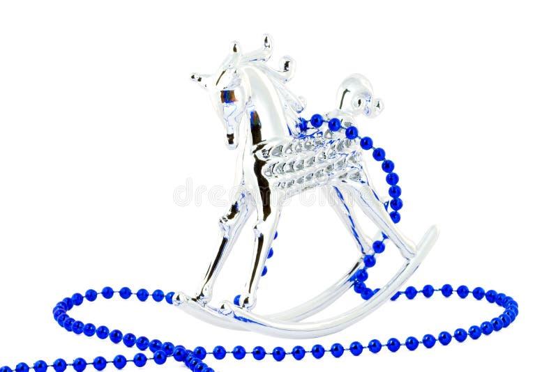 Cavallo d'argento su bianco fotografia stock libera da diritti