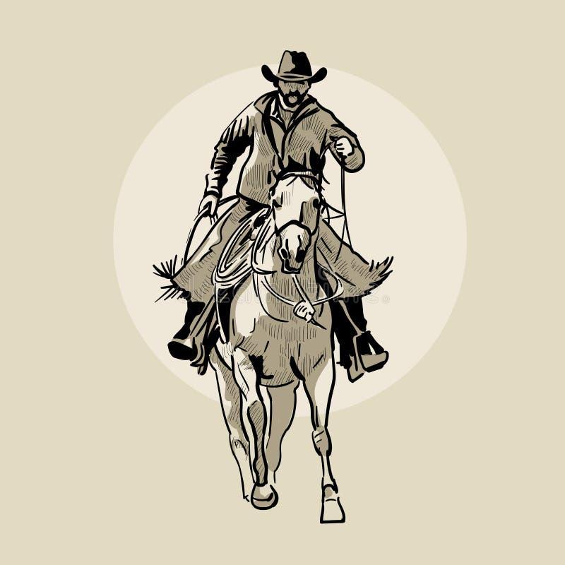Cavallo da equitazione americano del cowboy Illustrazione disegnata a mano Schizzo della mano Illustrazione