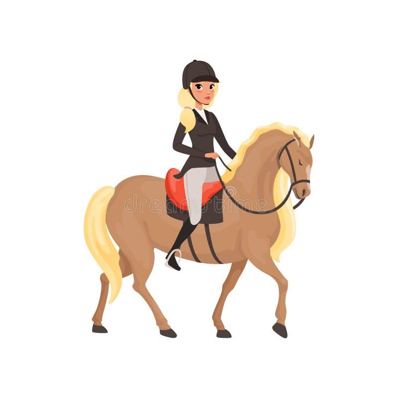 Cavallo da equitazione della ragazza della puleggia tenditrice, illustrazione equestre di vettore dello sport professionale royalty illustrazione gratis