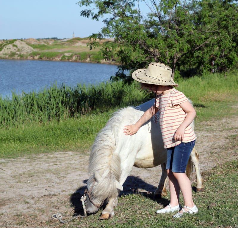 Cavallo del cavallino e del bambino fotografia stock