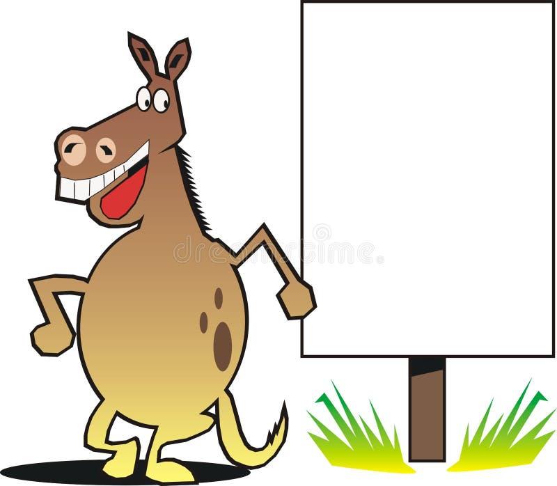 Cavallo del fumetto con il segno royalty illustrazione gratis