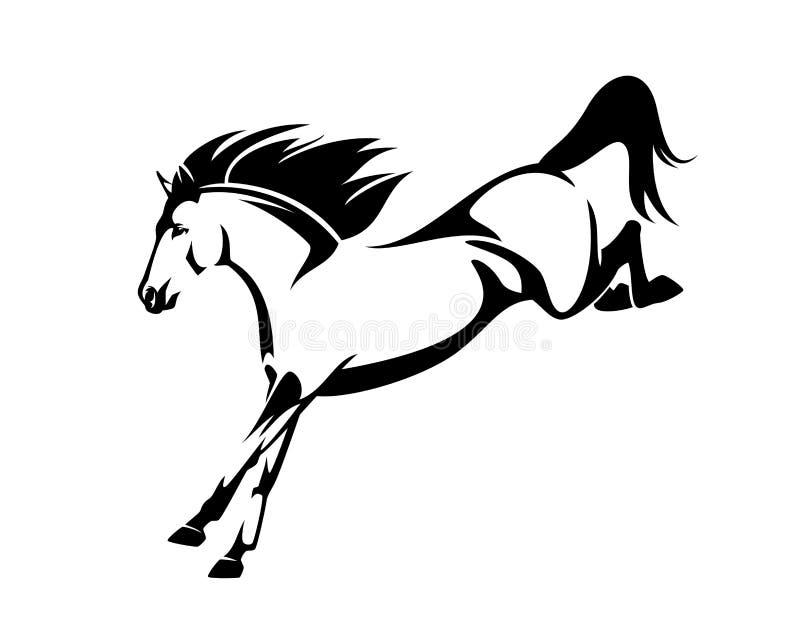 Cavallo del mustang che salta giù il profilo di vettore royalty illustrazione gratis