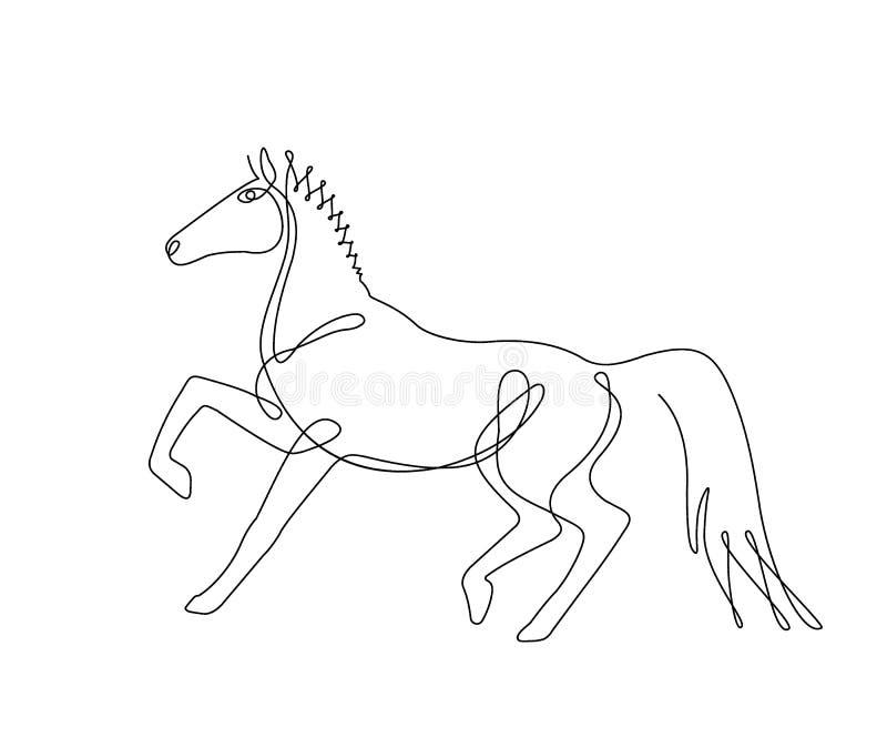 Cavallo di camminata, un disegno a tratteggio, linea continua illustrazione di stock