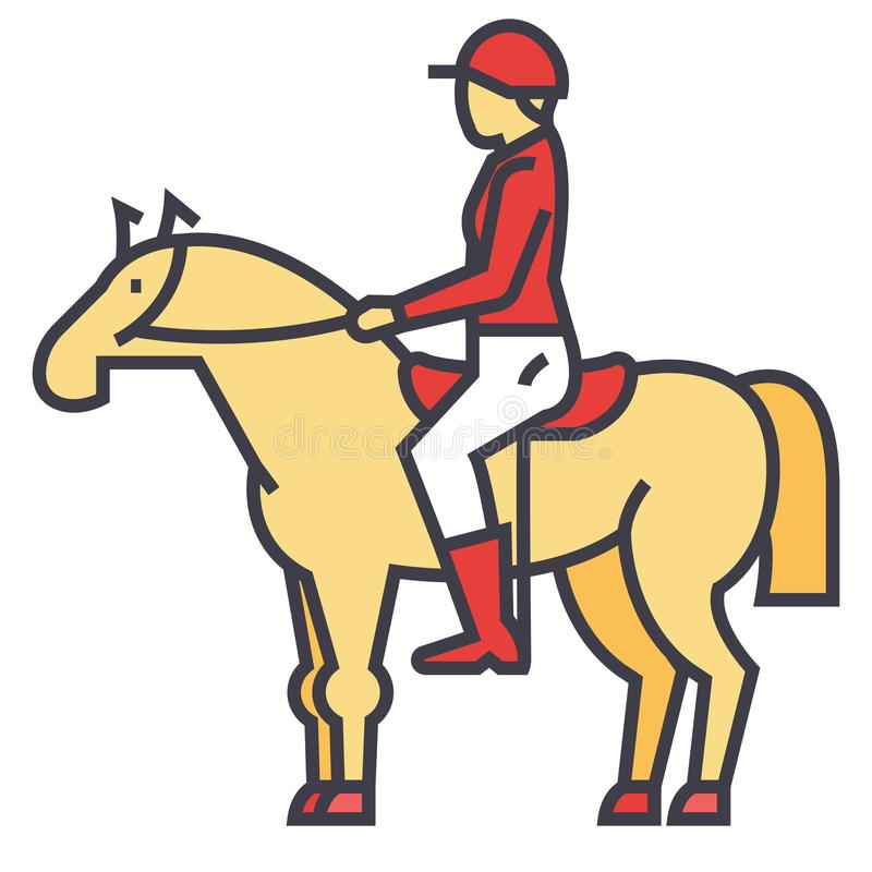 Cavallo di corsa, cavaliere, cavallerizzo, puleggia tenditrice, concetto della corsa illustrazione di stock