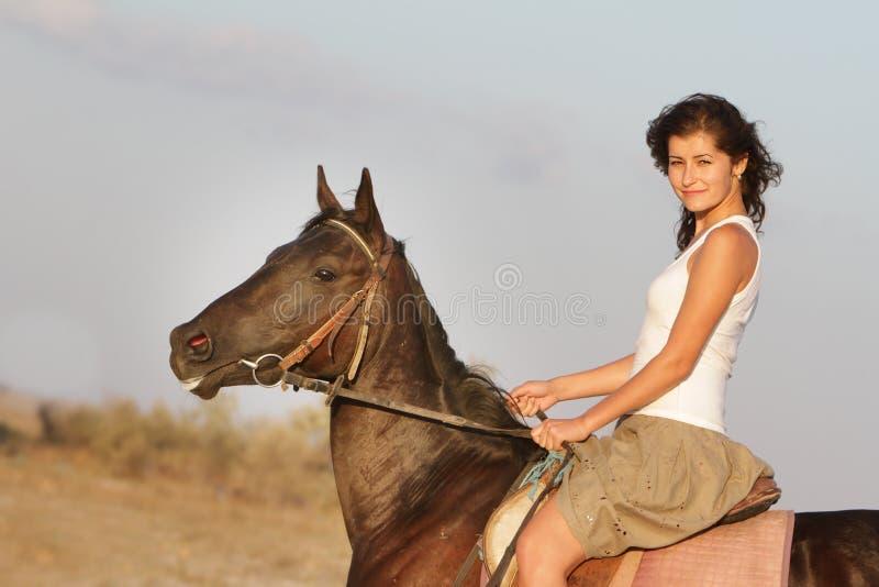 Cavallo di guida felice su sfondo naturale fotografie stock