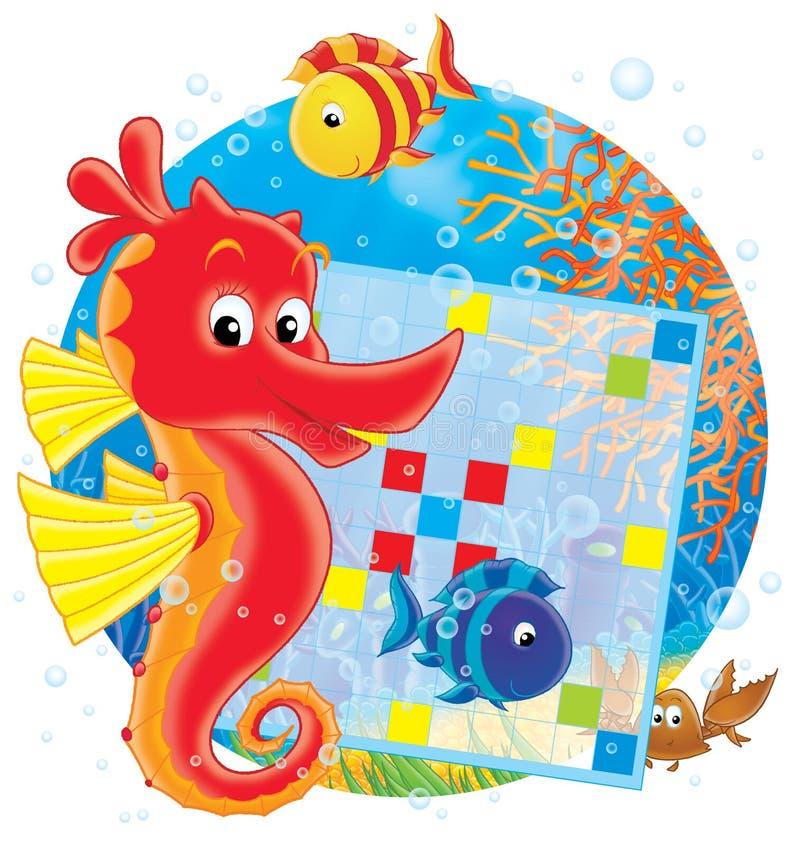 Cavallo di mare e parole incrociate illustrazione di stock