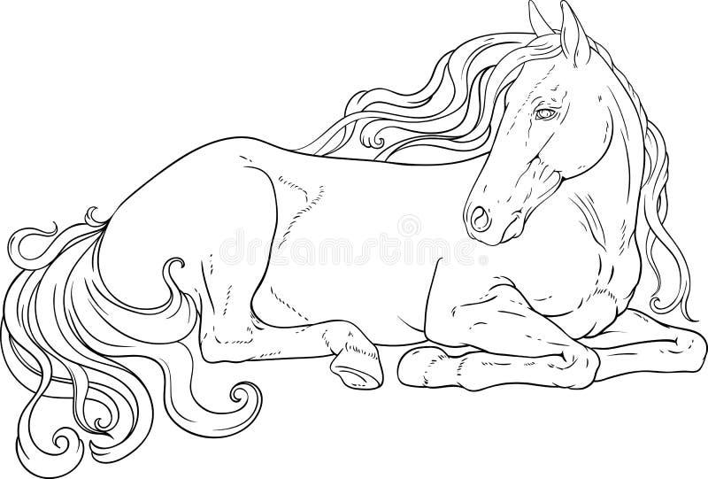 Cavallo di riposo con la coda e la criniera ricce royalty illustrazione gratis