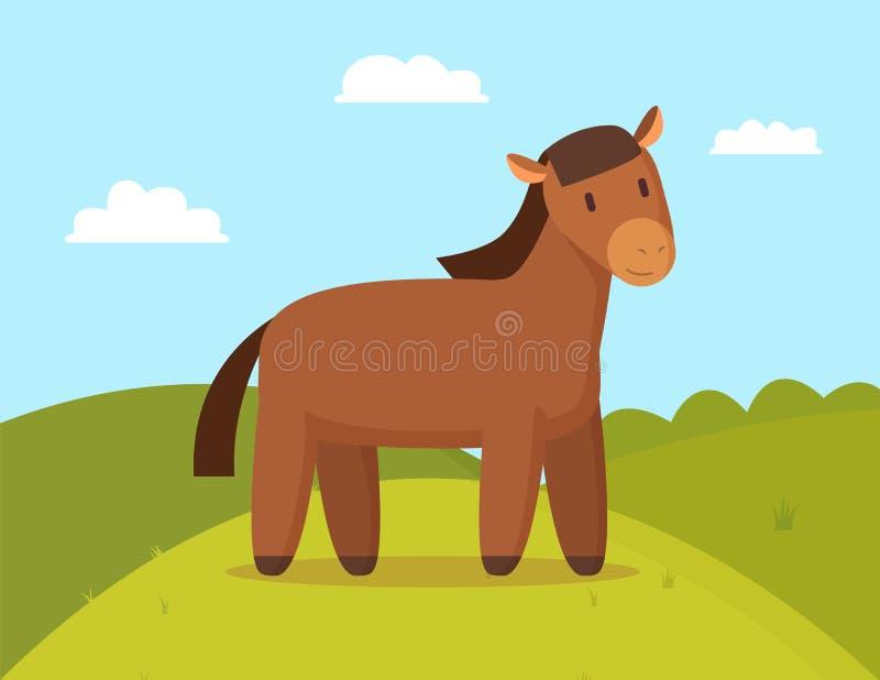 Cavallo domestico sull'illustrazione di vettore di colore della passeggiata illustrazione vettoriale