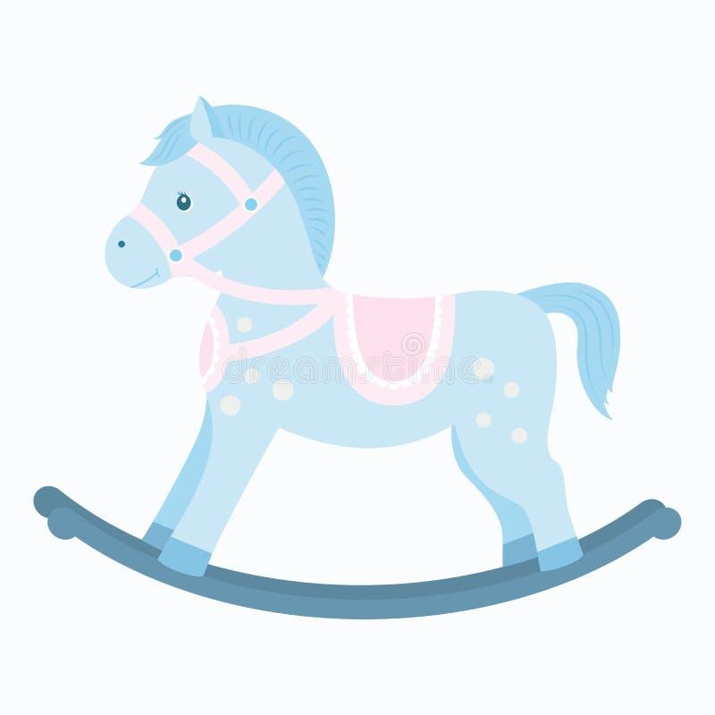 Cavallino A Dondolo Disegno.Illustrazione Piana Del Giocattolo Di Legno Del Cavallo A Dondolo