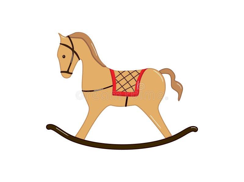 Cavallo a dondolo Giocattolo del bambino Isolato su priorit? bassa bianca royalty illustrazione gratis