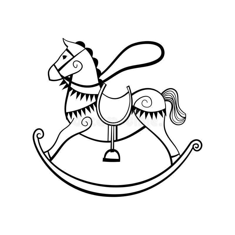 Cavallo a dondolo su un fondo bianco illustrazione vettoriale