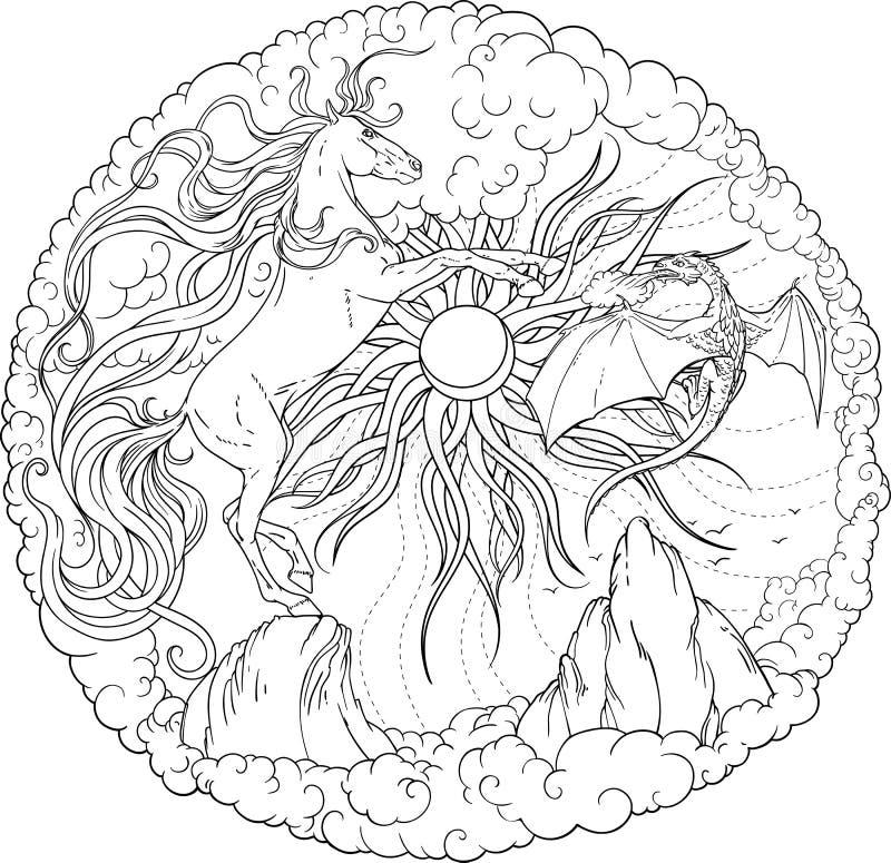 Cavallo, drago magico e sole circondati dalle nuvole illustrazione di stock