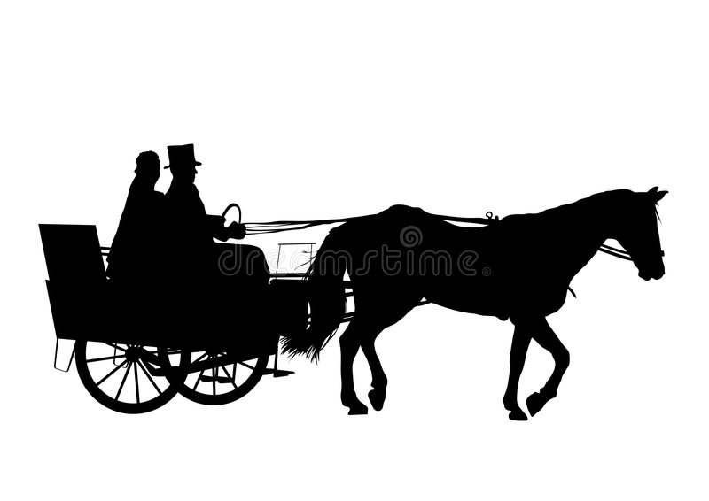 Cavallo e carrello che Wedding 1 royalty illustrazione gratis