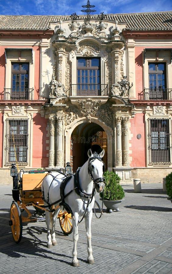 Cavallo e carrello, Palacio Arzobispal, Siviglia fotografie stock libere da diritti