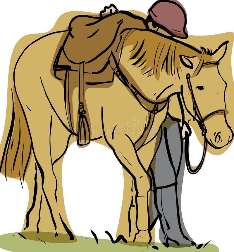 Cavallo e cavaliere royalty illustrazione gratis
