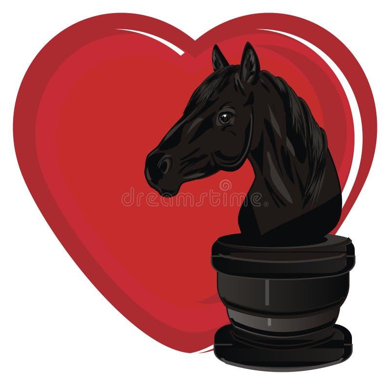 Cavallo e cuore di scacchi illustrazione vettoriale