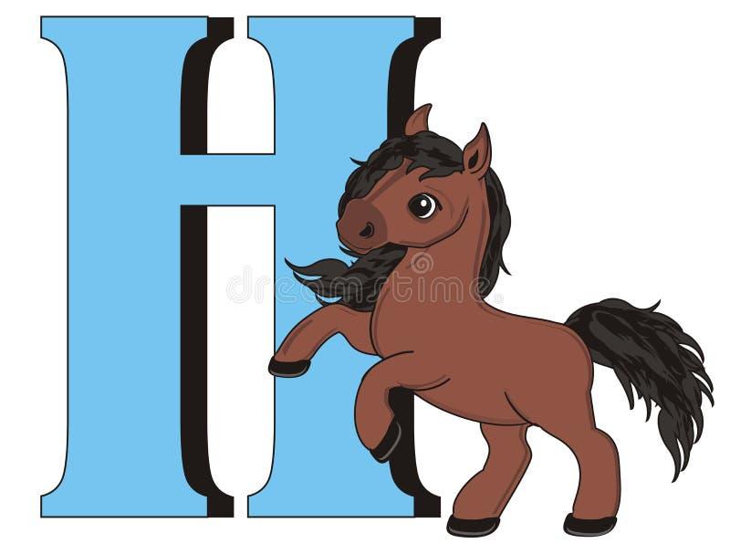 Cavallo e grande lettera illustrazione di stock