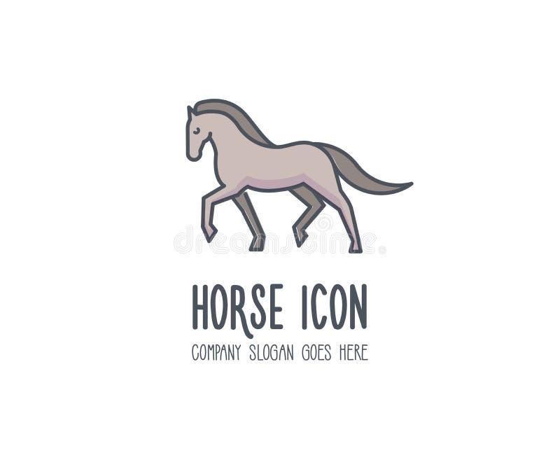 Cavallo elegante e fiero sveglio che marcia glorioso Animale di vettore illustrazione vettoriale