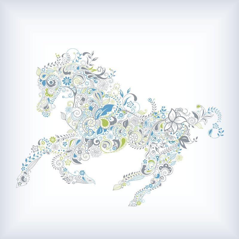 Download Cavallo floreale astratto illustrazione di stock. Illustrazione di illustrazione - 55355061