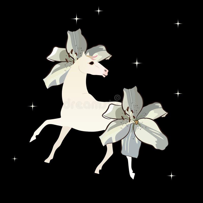 Cavallo magico bianco con la criniera e la coda nella forma dei fiori del giglio isolati su cielo notturno nero con le stelle bri illustrazione di stock
