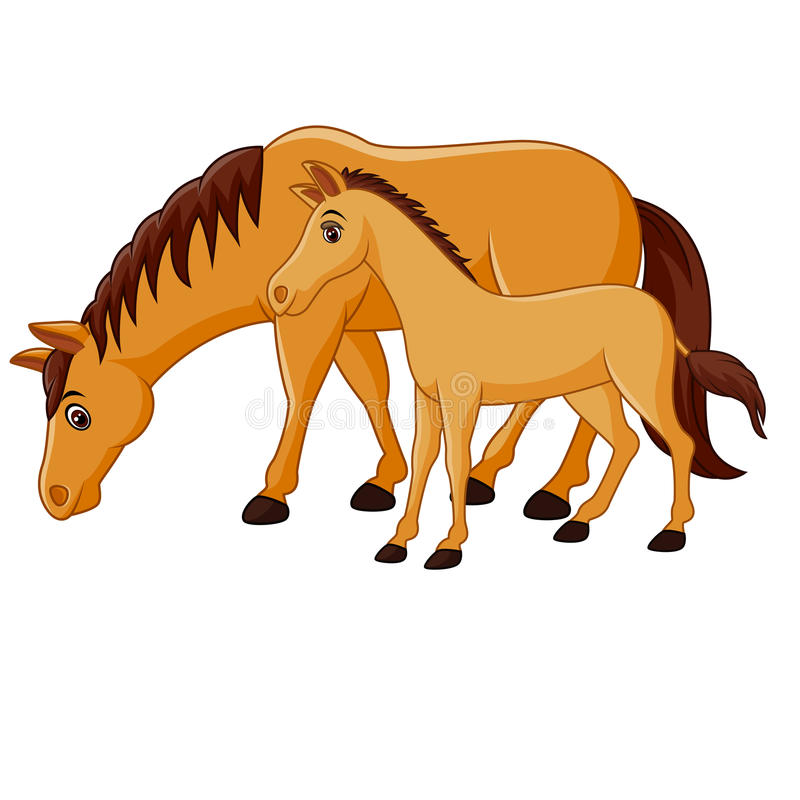 Cavallo marrone felice del fumetto con un puledro illustrazione vettoriale