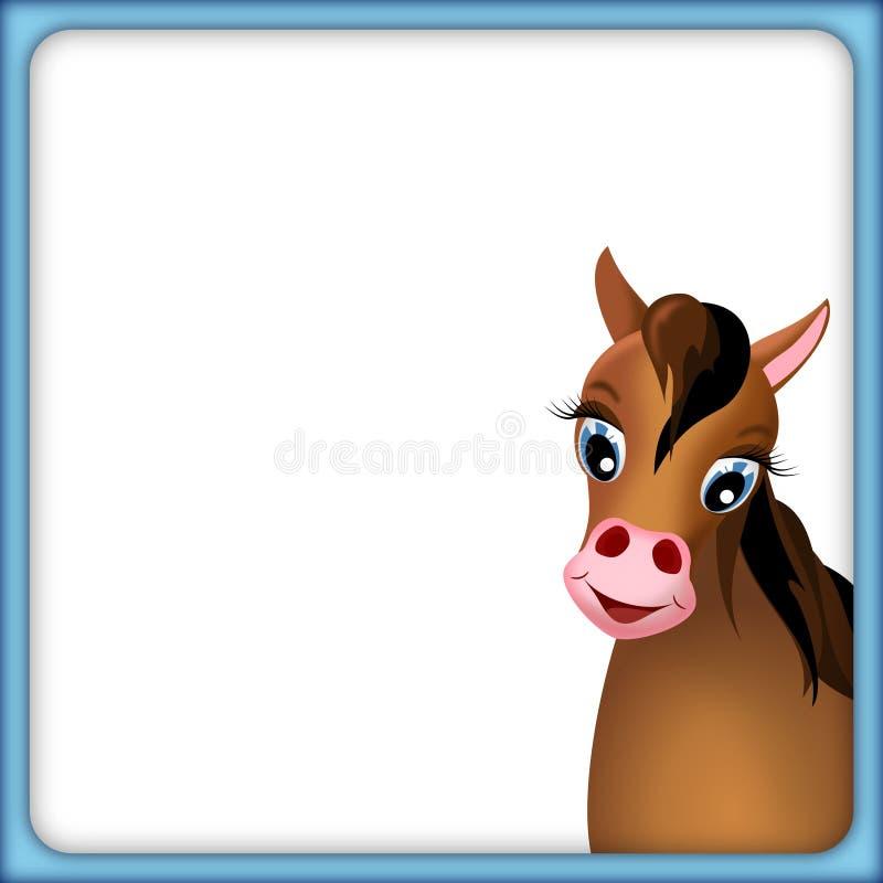 Cavallo marrone sveglio nel telaio rosso illustrazione vettoriale