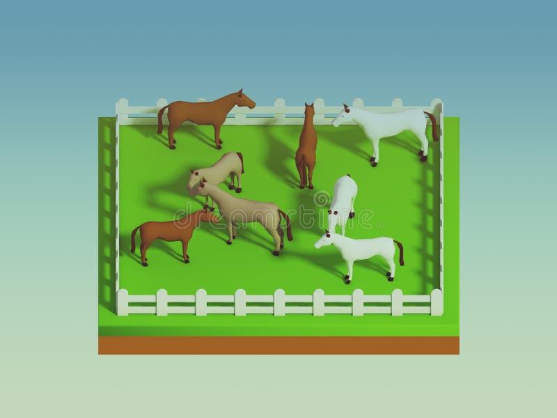 Cavallo nel paesaggio, vista isometrica illustrazione di stock