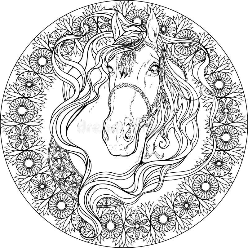 Cavallo nel telaio degli elementi floreali Pagina di coloritura royalty illustrazione gratis