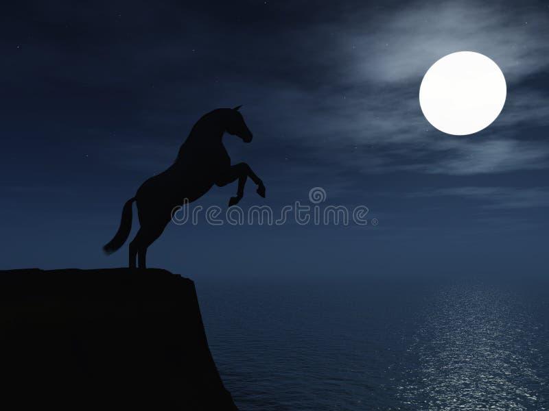 Cavallo nella luce della luna. royalty illustrazione gratis
