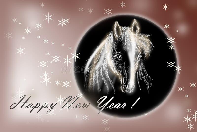 Cavallo sulla cartolina di Natale. immagini stock libere da diritti