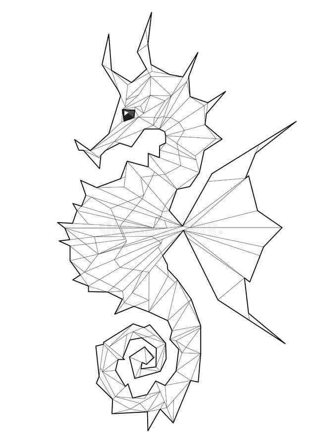 Cavalluccio marino - illustrazione bassa del poligono royalty illustrazione gratis