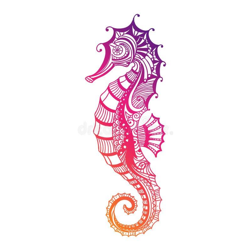 Cavalluccio marino ornamentale astratto illustrazione di for Cavalluccio marino disegno