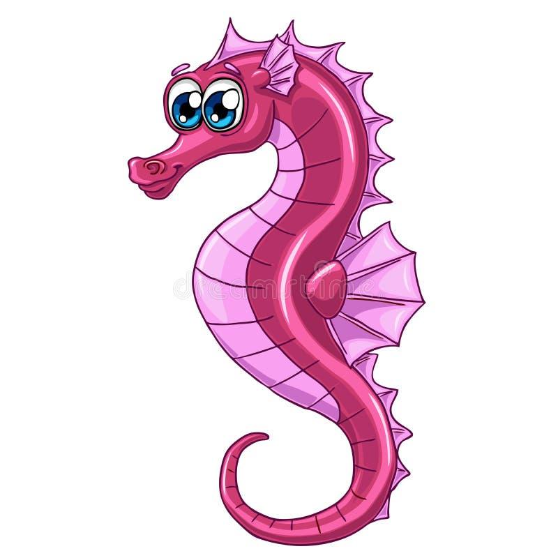 Cavalluccio marino rosa sveglio su fondo bianco royalty illustrazione gratis