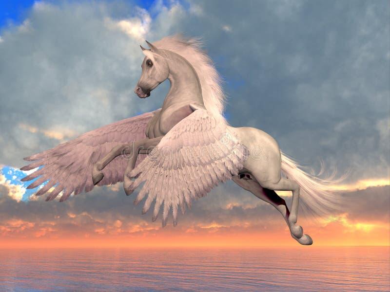 Cavalo árabe branco de Pegasus ilustração royalty free