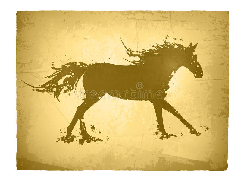 Cavalo abstrato do vintage ilustração royalty free