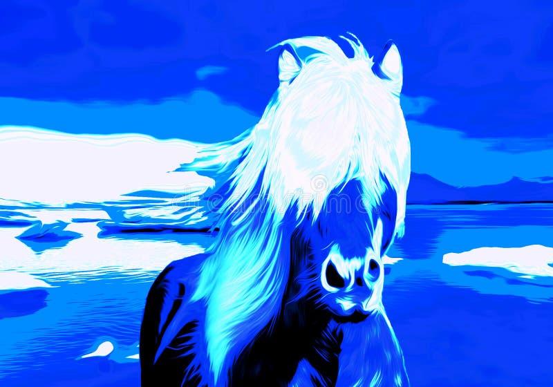 Cavalo azul no Winterland ilustração royalty free