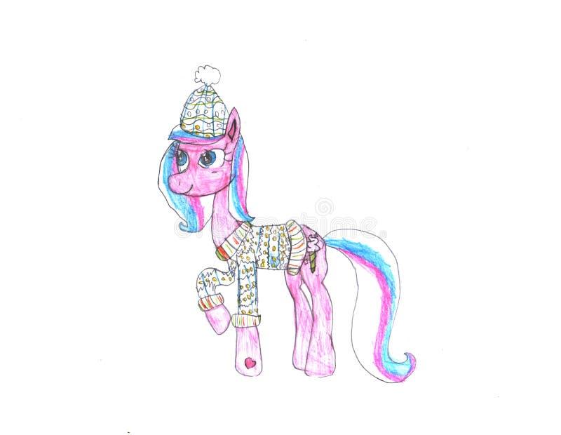 Cavalo bonito da aquarela no fundo branco ilustração do vetor