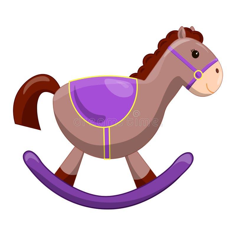 Cavalo bonito do brinquedo com rodas Primeiros brinquedos das crianças Elemento do projeto da festa do bebê Ilustração tirada mão ilustração stock