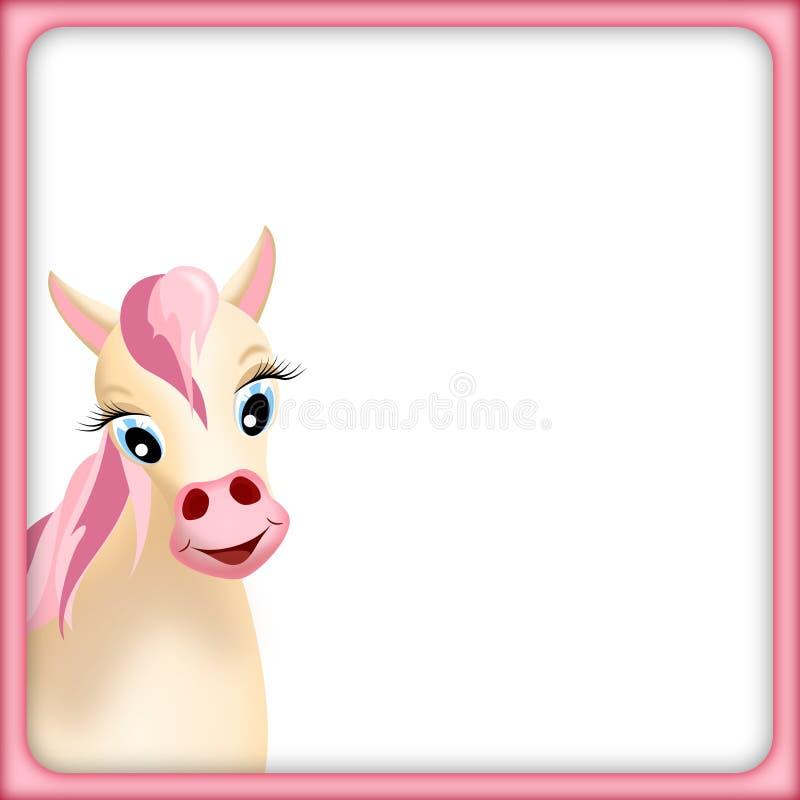 Cavalo bonito no frame cor-de-rosa ilustração stock