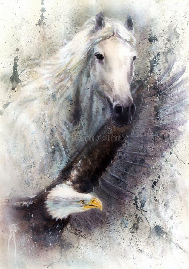 Cavalo branco com uma ilustração da pintura bonita da águia do voo ilustração royalty free