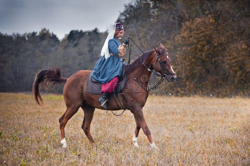 Cavalo-caça com as senhoras no hábito de equitação imagem de stock royalty free