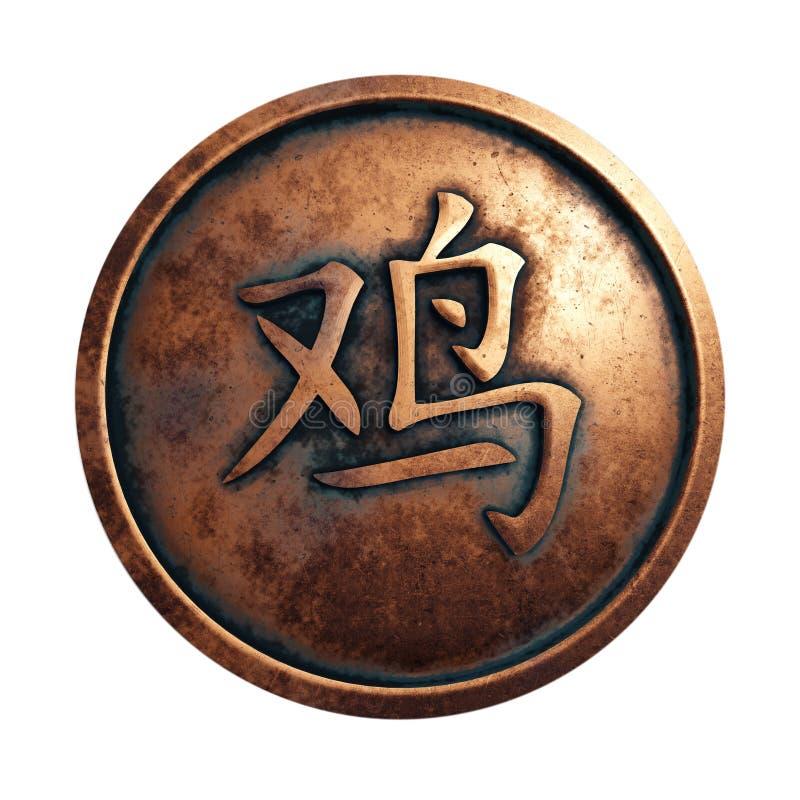 Cavalo chinês do sinal do zodíaco no círculo de cobre ilustração do vetor