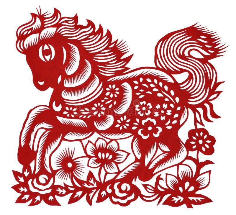 Cavalo chinês isolado da Papel-estaca imagem de stock