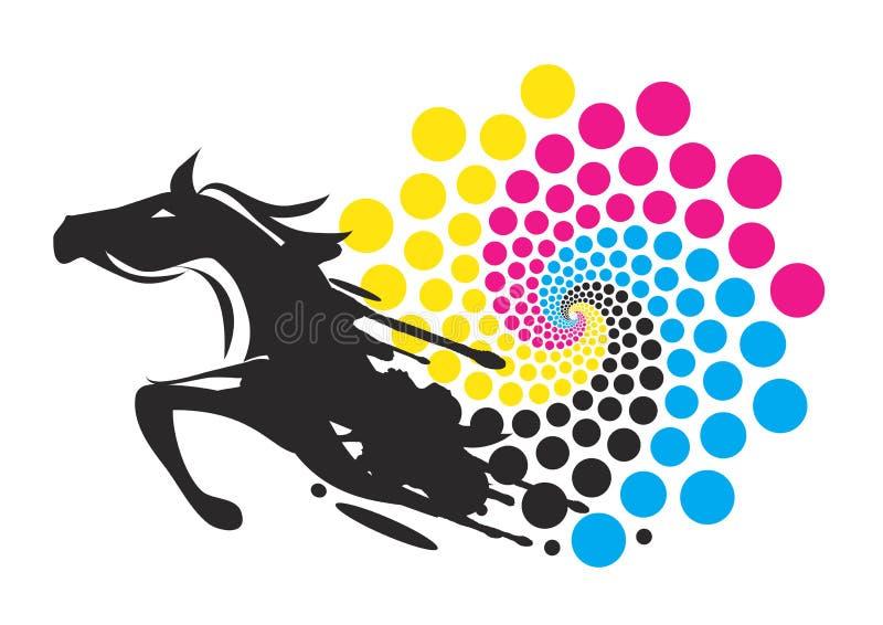 Cavalo com círculo de cores da cópia ilustração do vetor