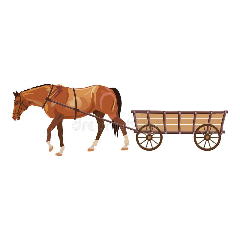 Cavalo com carro ilustração do vetor