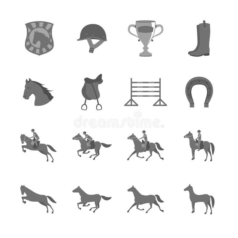 Cavalo com os ícones lisos dos cavaleiros ajustados ilustração stock